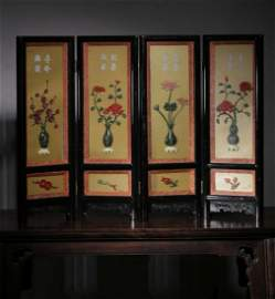 SET OF LACQUER WOOD WITH GEM DECORATED SCREENS