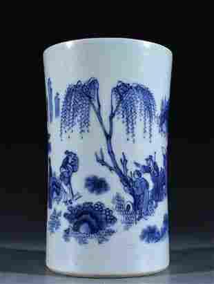 BLUE&WHITE GLAZE FIGURE PATTERN BRUSH POT