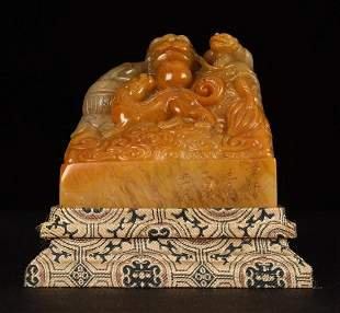 SHOUSHAN STONE SEAL CARVED WITH DRAGON