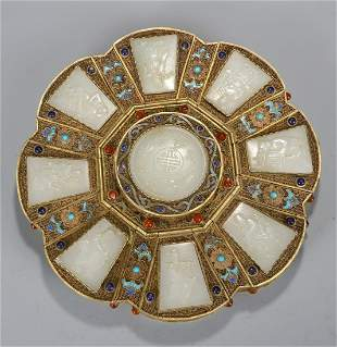 GILT SILVER ENAMELING BLUE WITH HETIAN JADE BOX