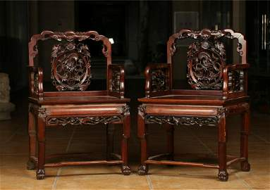 PAIR OF SUANZHI WOOD CARVED CHAIRS