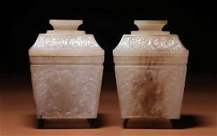 PAIR OF HETIAN JADE CARVED BOXES WITH COVERS
