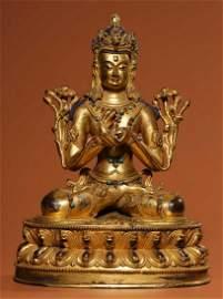 GILT BRONZE WITH GEM BUDDHA STATUE