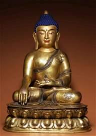 COPPER WITH SILVER SAKYAMUNI BUDDHA STATUE