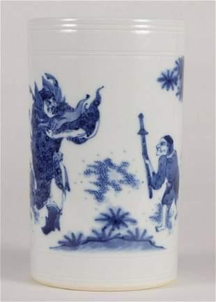 BLUE&WHITE GLAZE ZHONGKUI PATTERN BRUSH POT