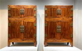 PAIR OF HUANGHUALI WOOD CARVED CABINETS