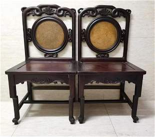 PAIR OF RED WOOD CARVED CHAIRS