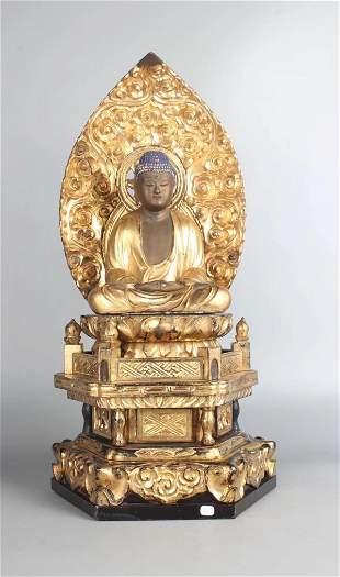 GILT LACQUER WOOD SAKYAMUNI BUDDHA STATUE