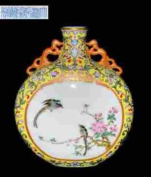 QIANLONG MARK YELLOW FAMILLE ROSE BIRD PATTERN VASE