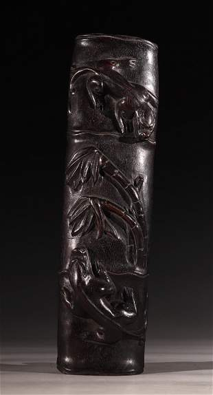 ZITAN WOOD DRAGON PATTERN ARM REST