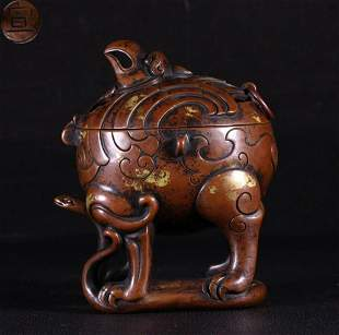 XUAN MARK COPPER CENSER SHAPED WITH BEAST