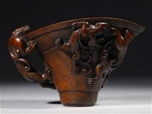 CHENXIANG WOOD CARVED DRAGON PATTERN CUP