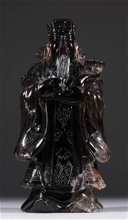 TEA CRYSTA CARVED CAISHEN STATUE