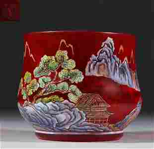 RED GLASS LANDSCAPE PATTERN BRUSH WASHER