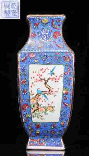 QIANLONG MARK BLUE GLAZE FLOWER BIRD PATTERN VASE