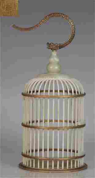 QIANLONG MARK HETIAN JADE CARVED BIRD CAGE