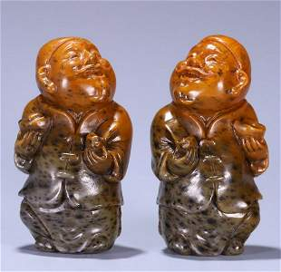 HETIAN JADE CARVED CAISHEN STATUES PAIR