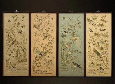 SET OF YUE EMBROIDERY WITH FLOWER&BIRD PATTERN