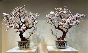 PAIR OF PINK CRYSTAL WITH CLOISONNE BONSAI