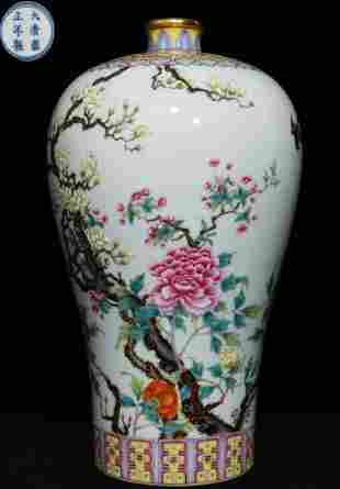 YONGZHENG MARK FAMILLE ROSE GLAZE FLOWER PATTERN VASE