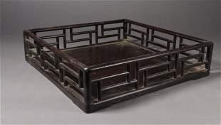 ZITAN WOOD CARVED TEA TABLE