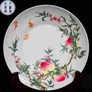 DAQINGYONGZHENGNIANZHI MARK FAMILLE ROSE GLAZE PLATE