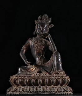 COPPER CAST GUANYIN BUDDHA STATUE