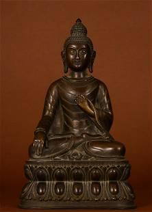 COPPER CAST SAKYAMUNI BUDDHA STATUE