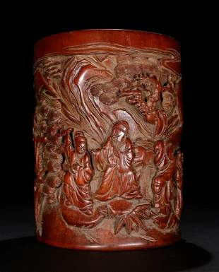 BAMBOO CARVED FIGURE PATTERN BRUSH POT