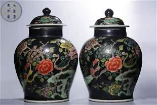 PAIR OF KANGXI MARK WUCAI GLAZE FLOWER JARS