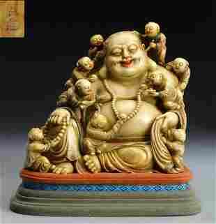 SOAPSTONE CARVED MAITREYA BUDDHA STATUE