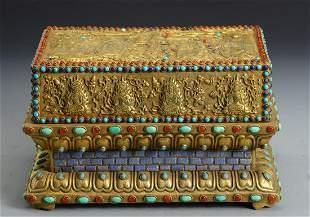 GILT BRONZE&GEM DECORATED BOX WITH SCRIPTURES SET