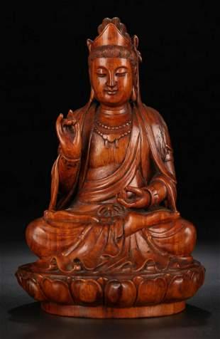 HUANGHUALI WOOD CARVED GUANYIN BUDDHA