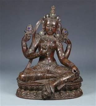 CHENXIANG WOOD CARVED GUANYIN BUDDHA STATUE