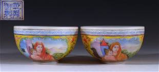 PAIR OF GLASS ENAMELED FIGURE PATTERN BOWLS