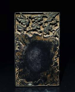 INK SLAB CARVED WITH GRAPES&POETRY