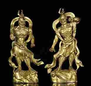 PAIR OF GILT BRONZE BUDDHA STATUE