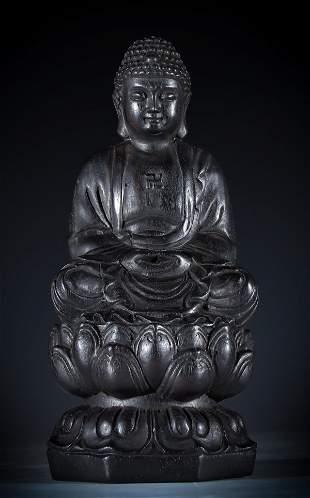ZITAN WOOD VAIROCANA BUDDHA STATUE