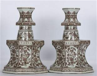 PAIR OF XUANDE MARK UNDERGLAZE RED CANDLE HOLDERS