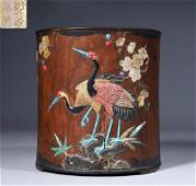 HUANGHUALI WOOD WITH GEM DECORATED BRUSH POT