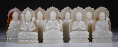 SET OF HETIAN WHITE JADE BUDDHA STATUE
