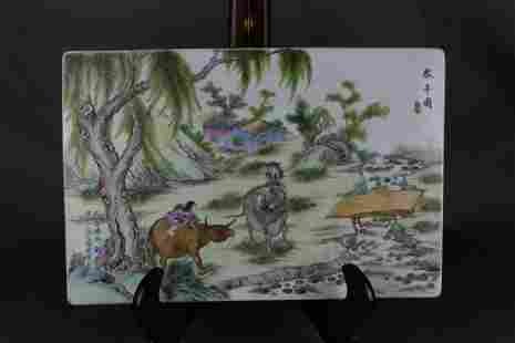 QIANLONG MARK FAMILLE ROSE GLAZE COW PAINTING