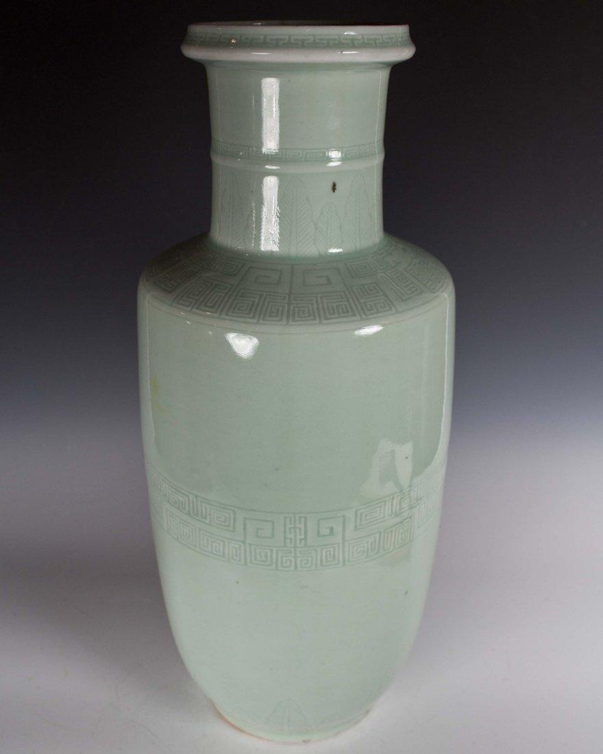 Celadon-Glazed Cylinder Vase