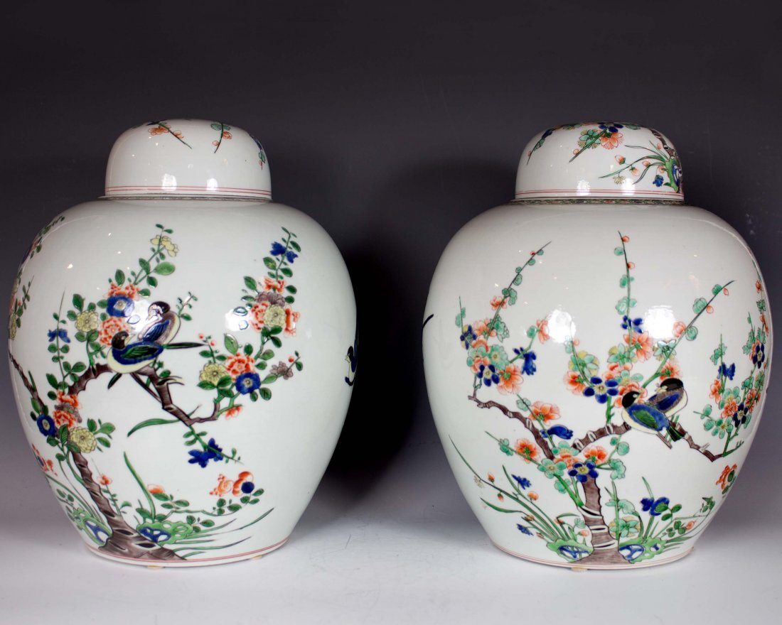 Pr of Wucai Covered Ginger Jars