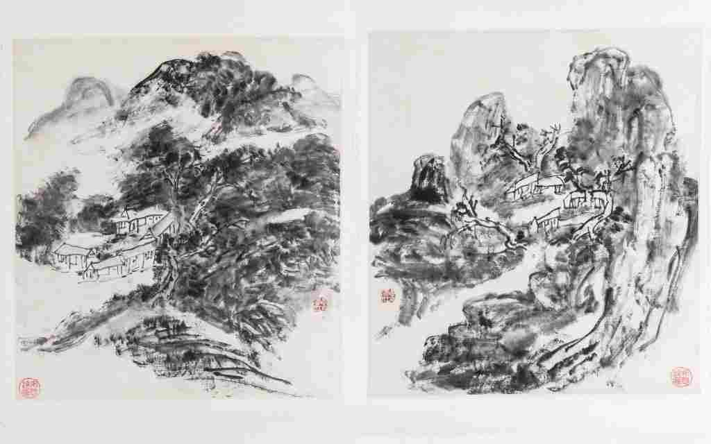 HUANG BINHONG TWO LANDSCAPE SCENES