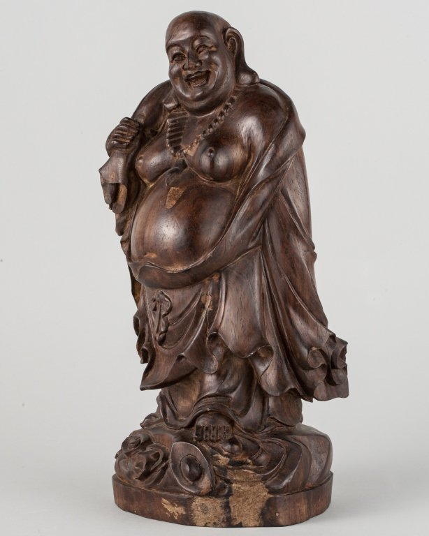 Aquilaria Carved Laughing Buddha Figure
