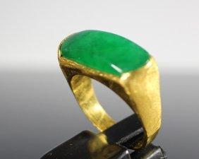 Square-shaped Jade Gold Ring