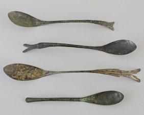 Group Of 4 Korean Bronze Spoons
