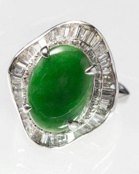 Natural Jade Ring With Diamond Platinum Mounted (with