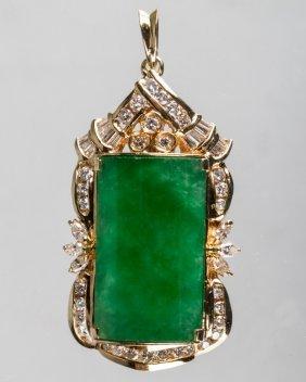 18k Jadeite Pendant Diamond Mount